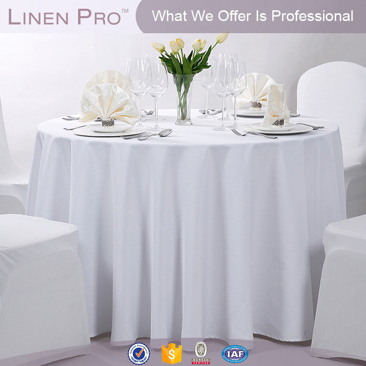 Clear and elegant hotel fancy table cloth,white round hotel tablecloth table linen