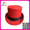 Cheap Promotional decorating styles top hat 100% wool felt party red flat top hat for men