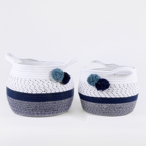 Pompom small assorted color cotton rope storage basket