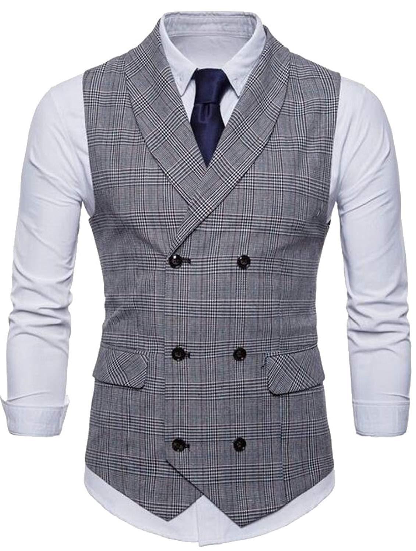 Generic Mens V-Neck Sleeveless Suit Vest Double-Breasted Blazer Waistcoat