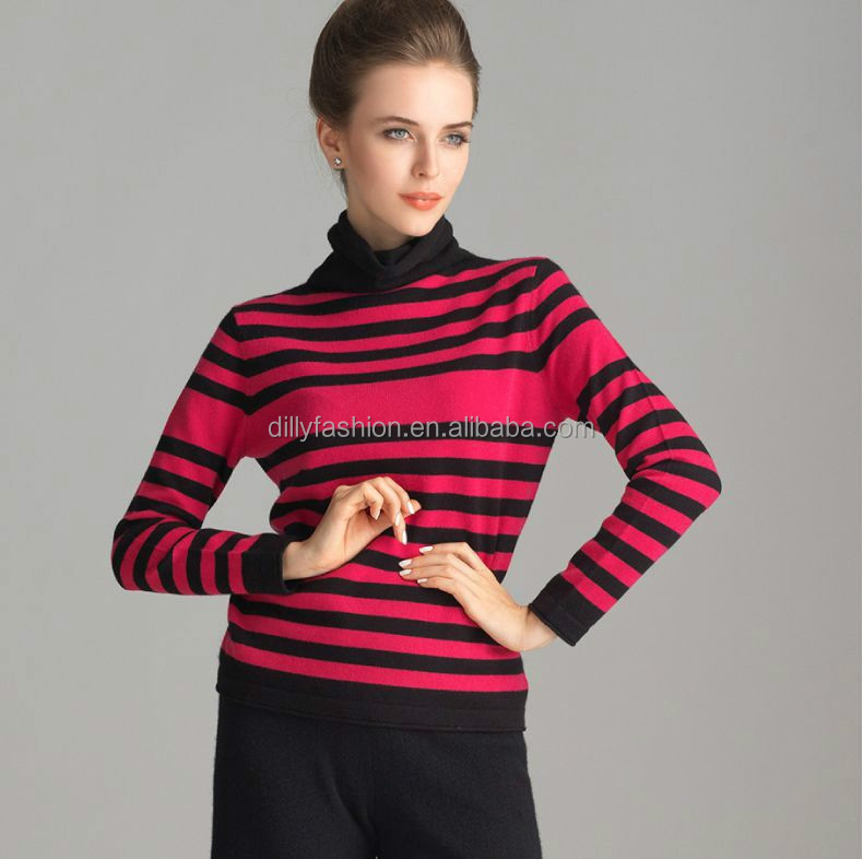 Heap turtleneck wool cashmere blended red black striped sweater