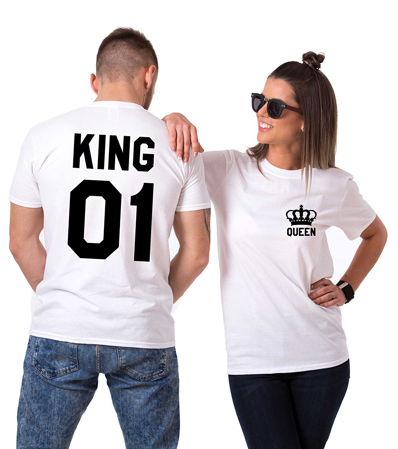 4363f1eb68 Get Quotations · Couple's Shop King Queen Couples T-Shirts Crown Set  Valentine's Day Gift His Hers Cotton