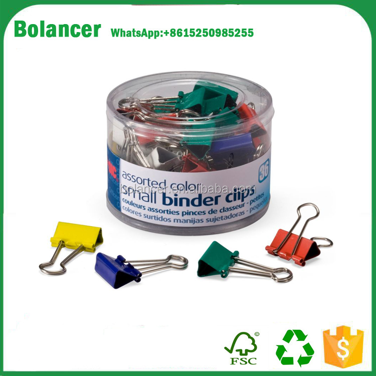 Bolancer Binder Clips, Assorted Colors, 30 per tub