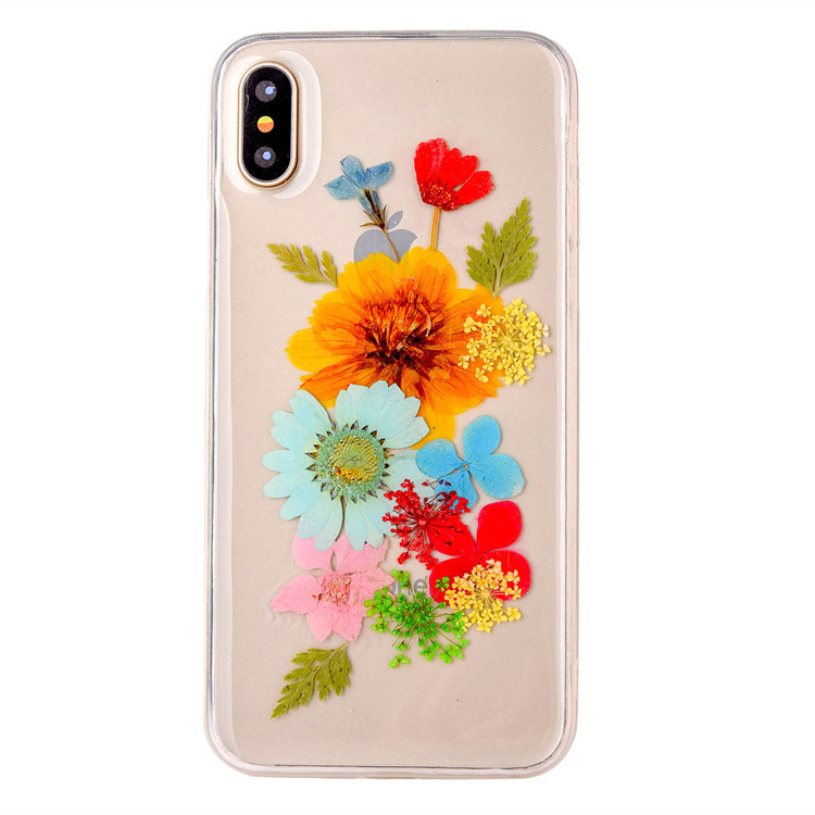 Dried Genuine Preserved Fresh Flower TPU Mobile Phone Case for iPhone 10 , for iPhone X Real Floral Case