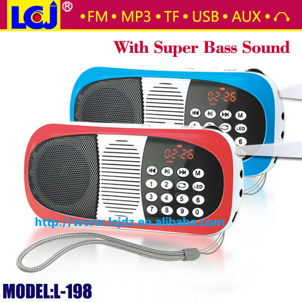 L-198 pop rock portable usb speakers with fm radio and mp3 player