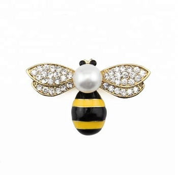 Cute Pearl Enamel Rhinestone Crystal Honeybee Bee Apidae Brooch Insect Pin Jewelry