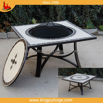 Kingjoy  Outdoor Square Top Steel Legs Barbeque Marble Tile Fire Pit Table