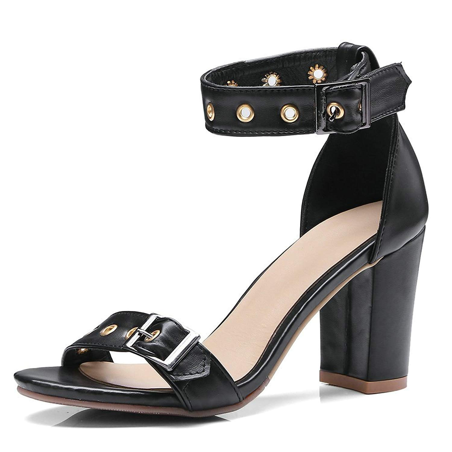 21f8010348ea Get Quotations · Fashion Block Heel Sandals Women Ankle Strap Buckle Chunky High  Heel Open Toe Studded Heeled Sandals