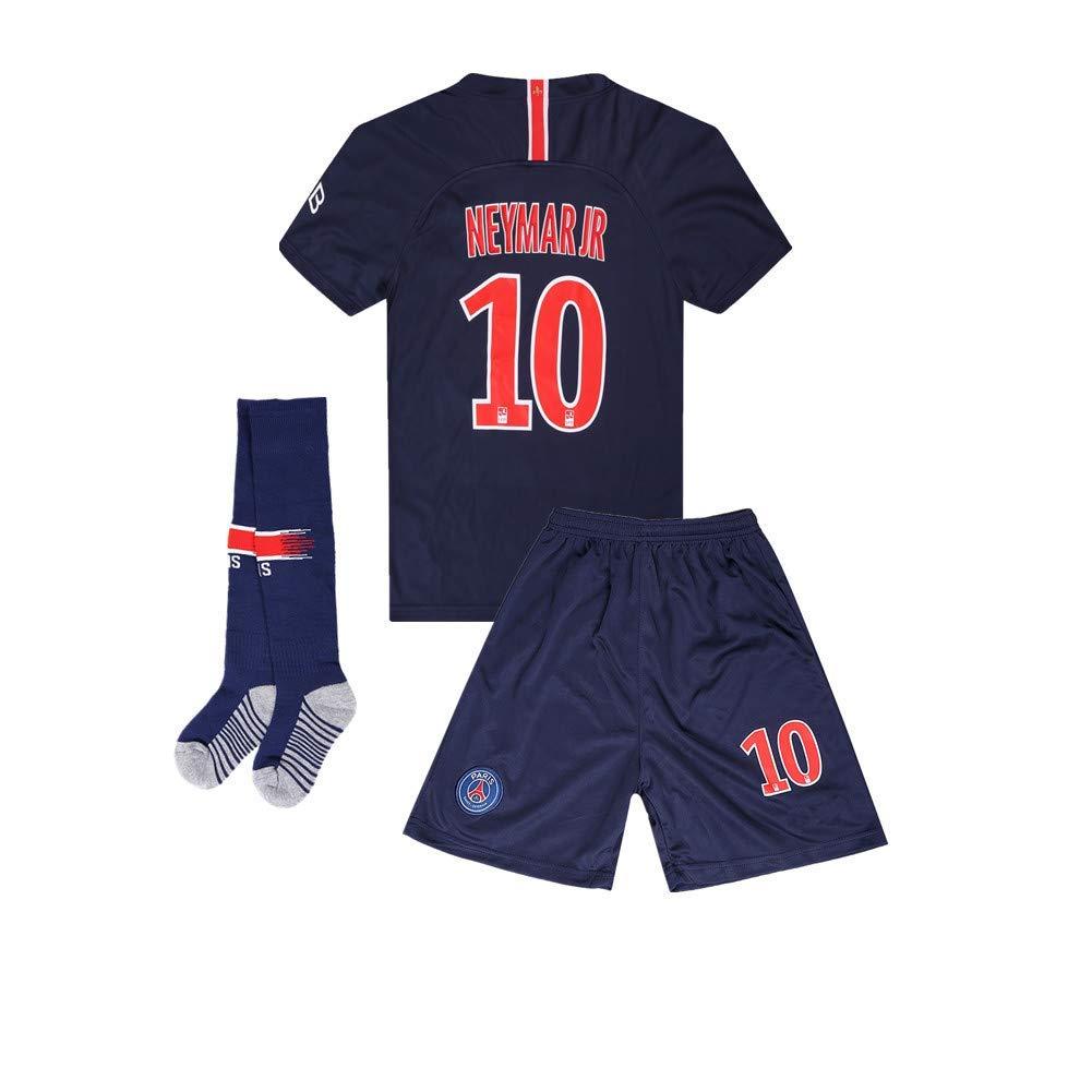 97b54d85a08 Get Quotations · PSG  10 Neymar Jr 18 19 Home Kids Youth Blue Soccer Jersey    Shorts