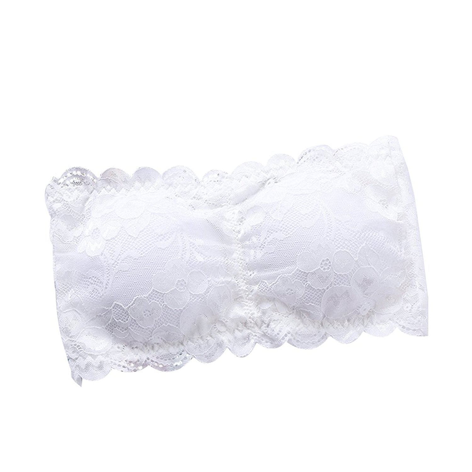 ee7ab5e7e58d Get Quotations · OULII Women Strapless Lace Bandeau Bra Paded Removable  Seamless Stretch Bandeau Tube Bra Top (White