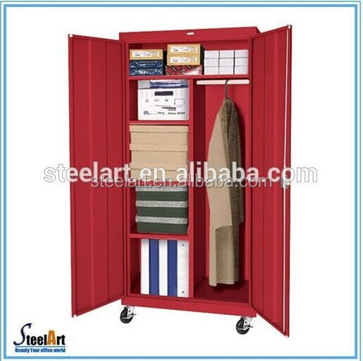 Two doors stainless steel wardrobe with pipe hanger and shelf