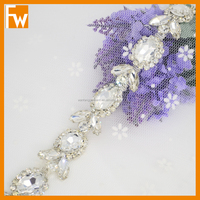 Hot selling crystal rhinestone bridal trimmings chain for wholesale