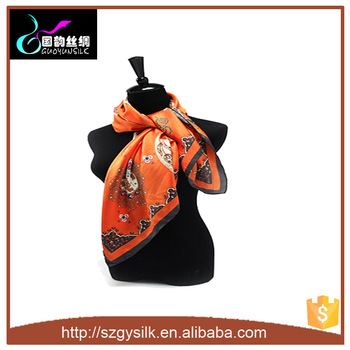 Factory Direct Luxury Custom Digital Printed Twill scarf 100% silk scarf
