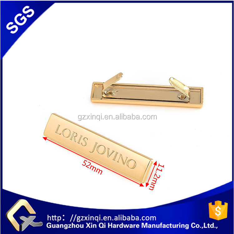 Custom metal plate <strong>logo</strong> for handbags label of handbag hardware