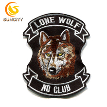 China Fabriek Gratis Sample Custom Logo <span class=keywords><strong>Patch</strong></span> Lone <span class=keywords><strong>Wolf</strong></span> Geen Club Borduren <span class=keywords><strong>Patch</strong></span> Met Ijzer Op