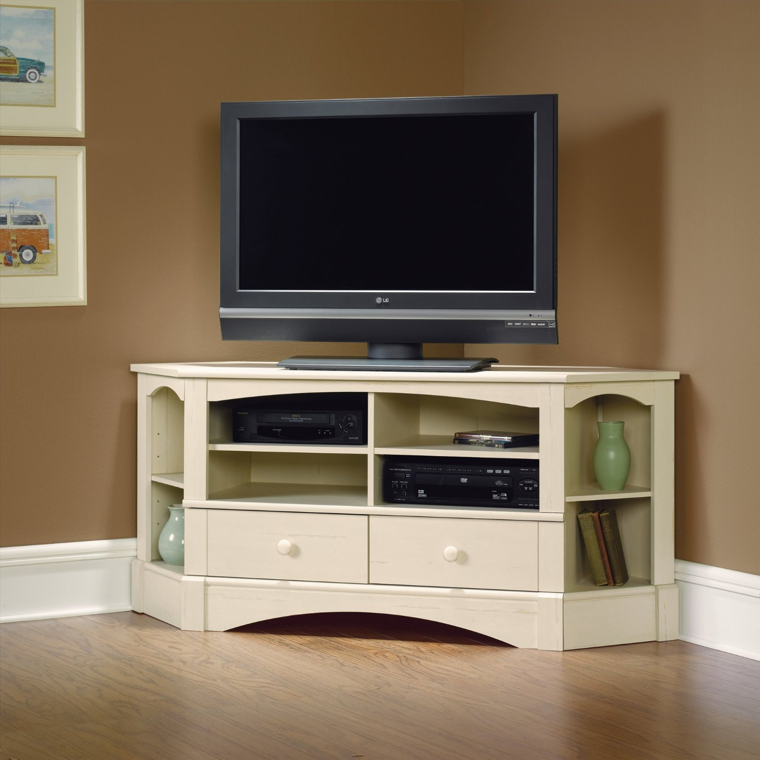 Get Quotations Corner Entertainment Center Antique White Finish