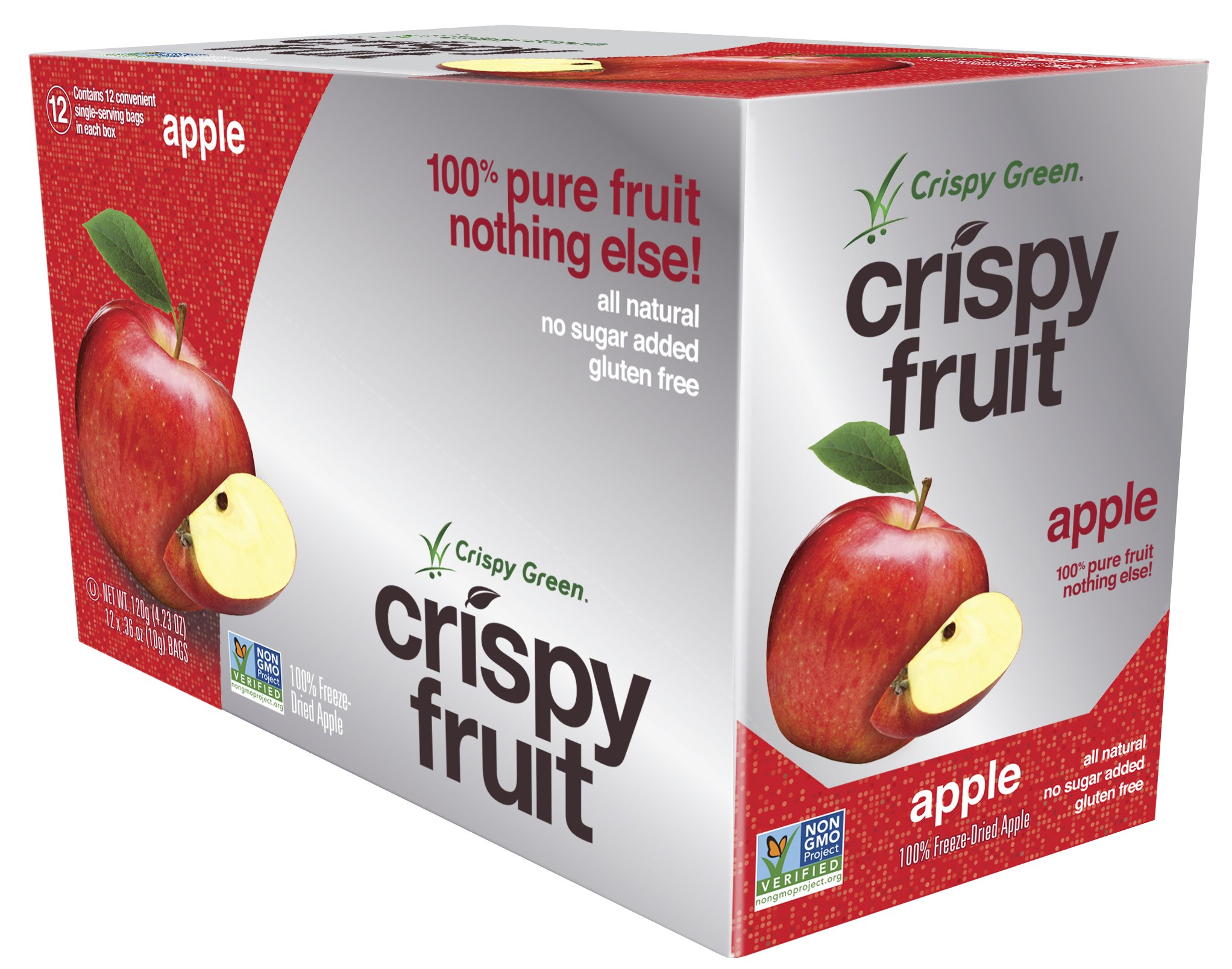 Crispy Green Freeze-Dried Fruits, Non-GMO, Gluten Free, No Sugar Added, Fruit, Apple, 0.36 Ounce (12 Count)