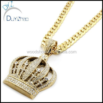 Mens Gold Iced Out Queen Crown Pendant crown jewelry