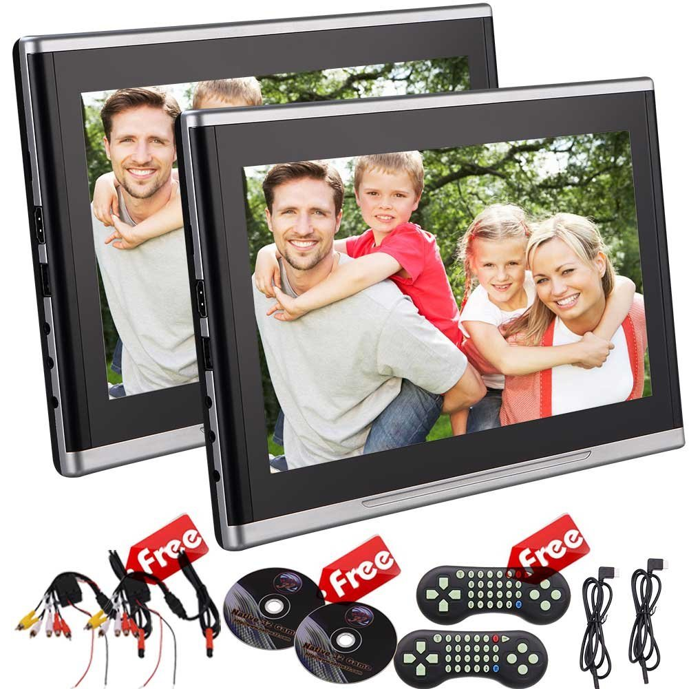 EinCar 10.1 Inch Dual car Entertainment Headrest DVD Player Screen TFT LCD Screen DVD Headrest Monitor Backseat DVD/CD/USB Player with HDMI Port and Remote Control Support 32bits Game