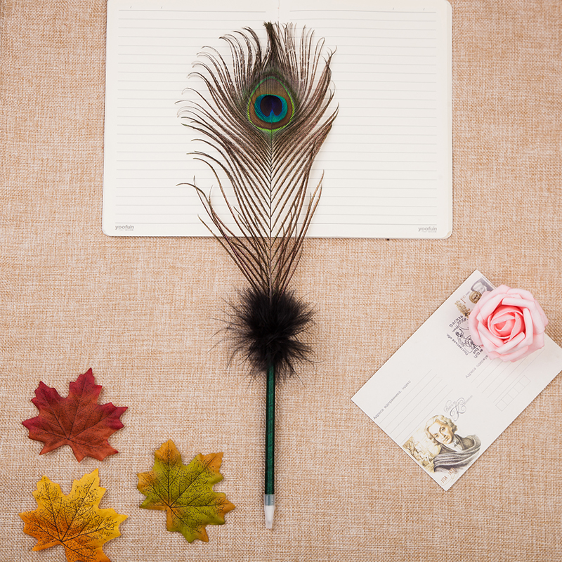 Luxury peacock feather quill pen with customized bowknot