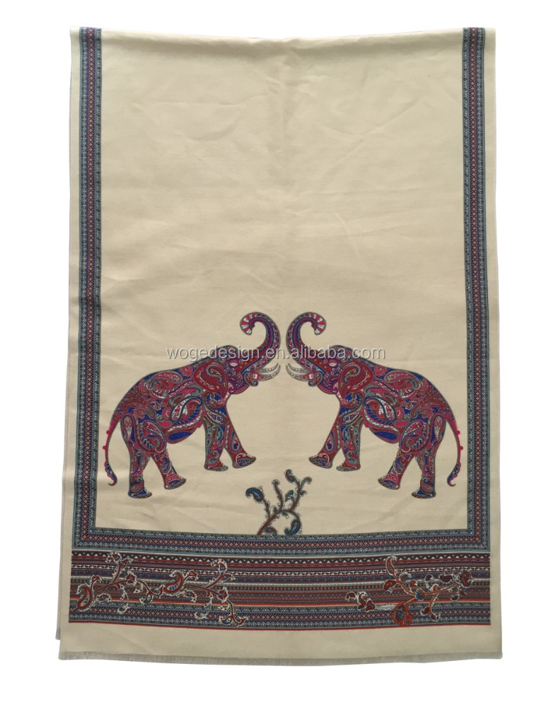 New trendy distributor thai style wonderful feminine print elephant echarpe shawl tippet viscose cashmere winter scarves stoles