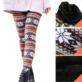 cc420caf3c210c Wholesale winter gril Snowflake Thick fleece Christmas Women Printed  Leggings