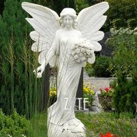 High Quality life size natural stone granite angel statue