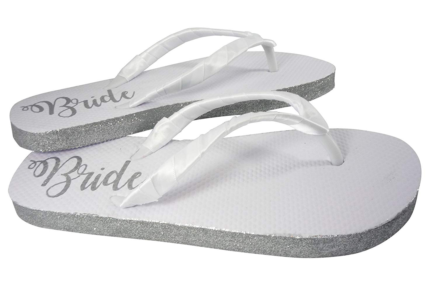 7d89edf7429cc Customizable Colors Glitter Bride Sole Wedding Flip Flops for Bridal Shoes  in White Flat
