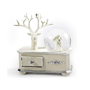 Factory custom merry Xmas new year mini water globe Wedding Couple Musical Snow Globe Atop Of A Silver Accented Commode