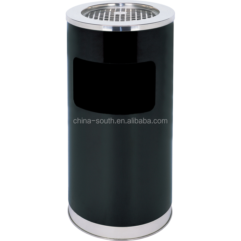 Round Metal Cigarette ashtray bin with stainless steel lid