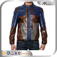 men's fashionable simple collar patchwork knight leather/jacket