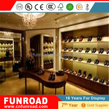 b1e2f32e2ec5 Custom retail store floor metal wooden shoe display stand mdf slatwall display  rack double