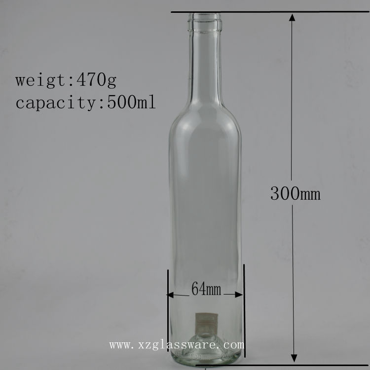 High Quality 500ml clear amber dark Green Glass Bordeaux Red Wine Bottle