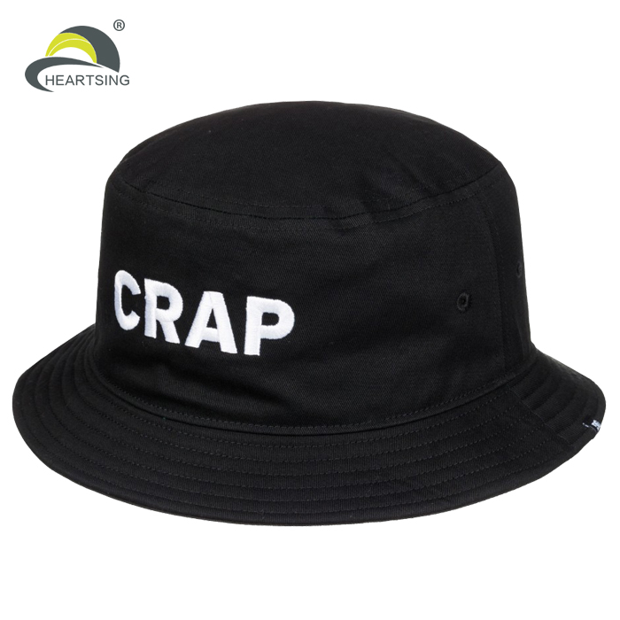 100 cotton cheap black men wholesale custom embroidered bucket hats