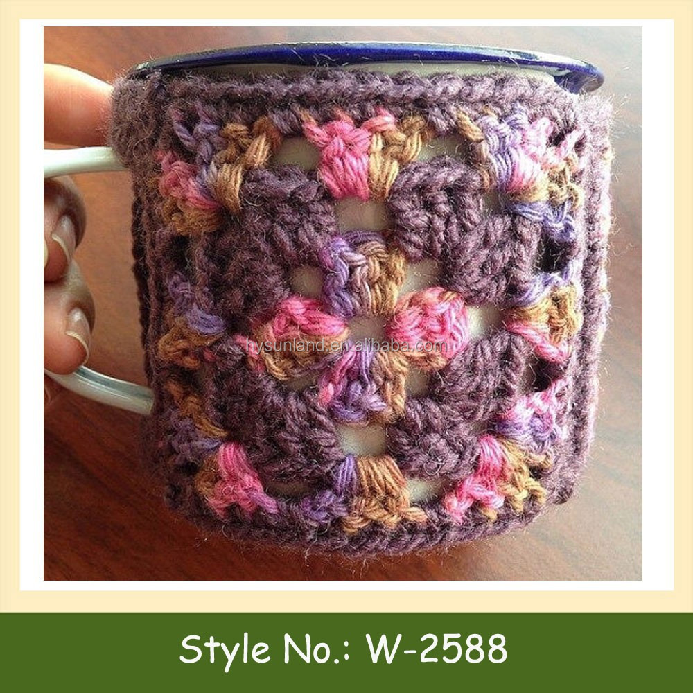 W-2588 knitted pattern mug sleeve cup cozy coffee sleeve crochet cup coffee cosy