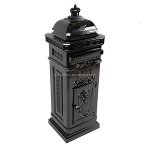 China Manufacturer Black Free Standing Outdoor Design Post Box Letter Box