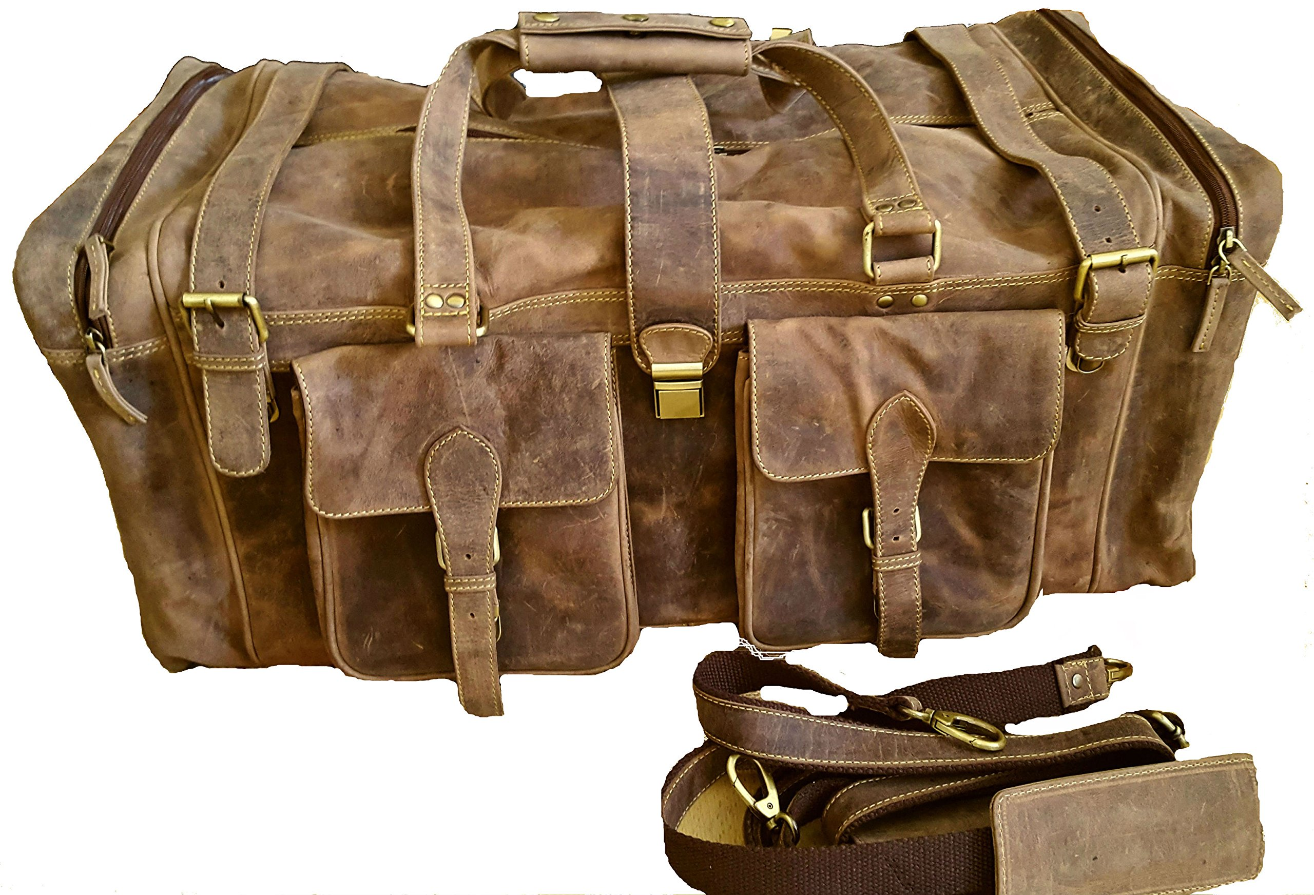 28 Inch Real Leather Vintage Travel Bag Large Gym Duffel Brown Men's Holdall Weekend Overnight Luggage