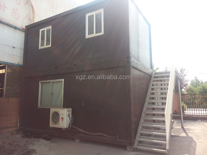 Two storeyTrailer Insulation Container House with Steel Staircase