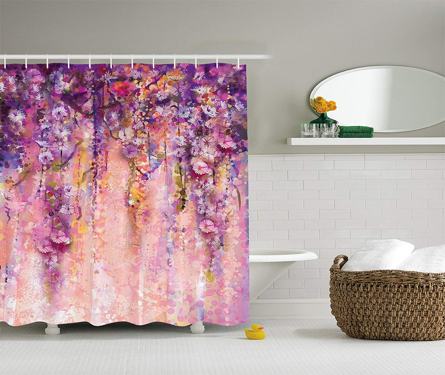 Purple Shower Curtain Spring Flowers Decor by Ambesonne, Wisteria Blossoms Watercolor Painting Effect and Bubble, Fabric Bathroom Shower Curtain, 84 Inches Extra Long, Purple Navy Blue Ivory Lilac