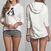 Fashion design embroidery letters soft wearing woman long sleeve pullover fleece hoodie
