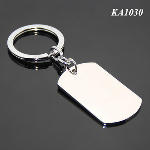 Wholesale Fancy Popular Metal Key Chain Rectangle Shape Dog Tag Mirror Polished Blank Keychain