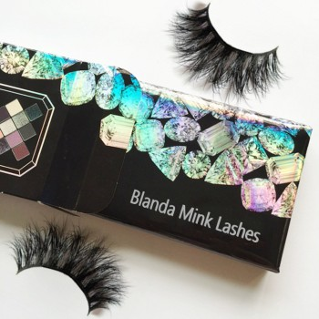 private label mink eyelashes custom holographic box