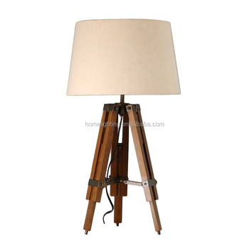 Delicieux WD 6136 Adjustable Classic Style Wooden Tripod Table Lamps