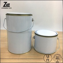 5L white round paint tin can plastic handle can chemical use can