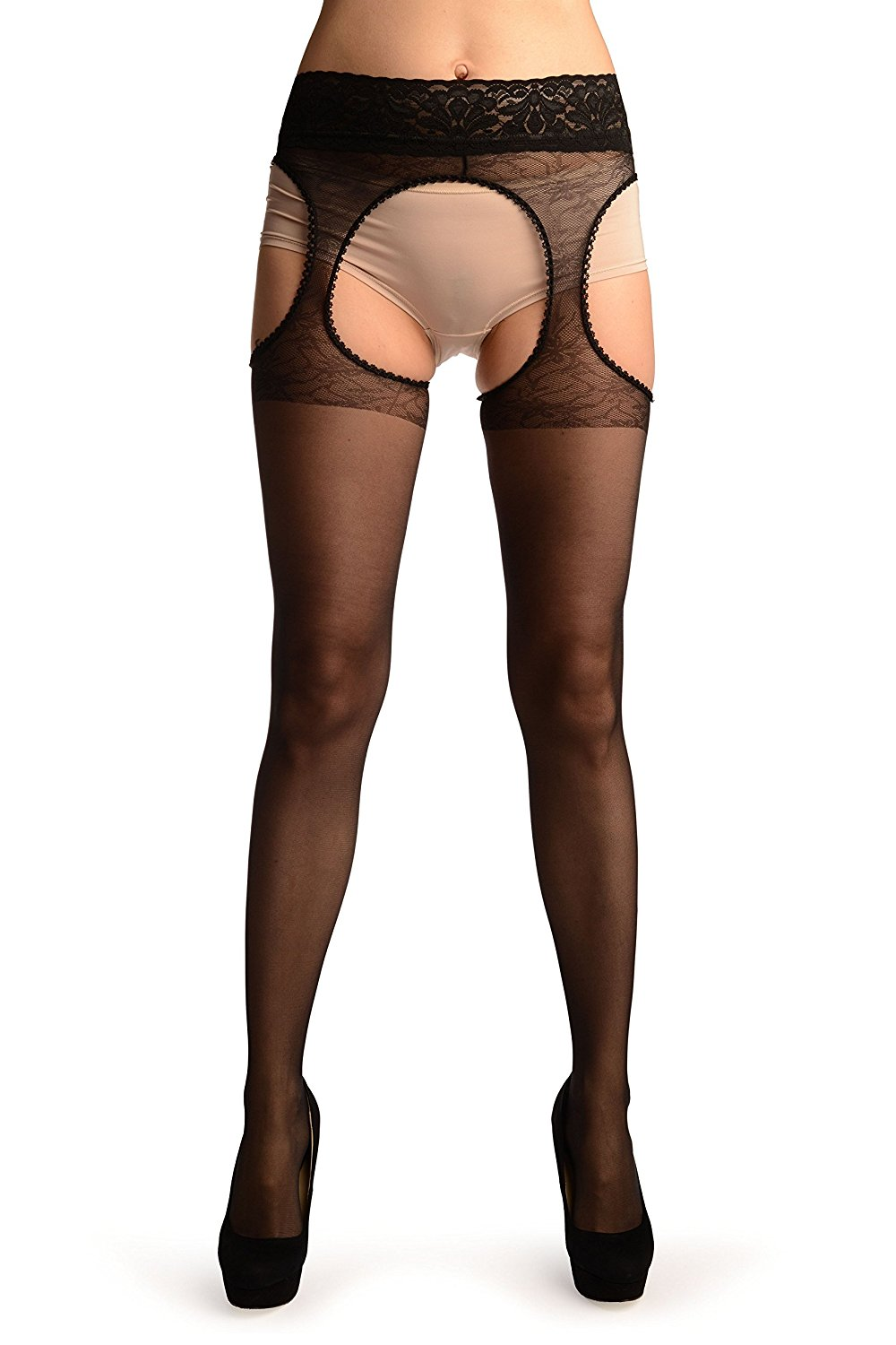 44c42a9985c Get Quotations · Black Suspender Belt With Floral Silicon Lace Top Tights -  Pantyhose (Tights)