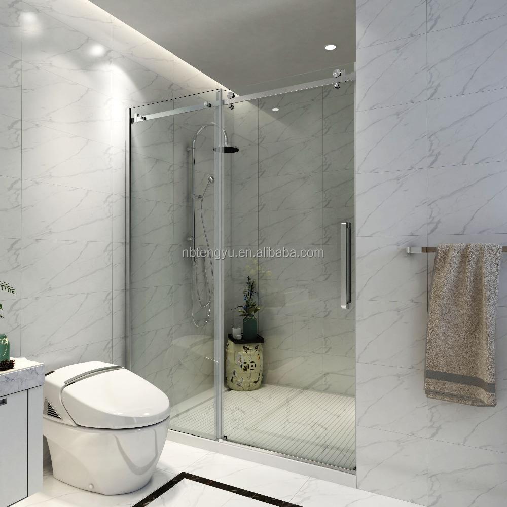 Çerçevesiz Fırçalanmış paslanmaz çelik dekor sürgülü duş ahır kapı donanım kiti
