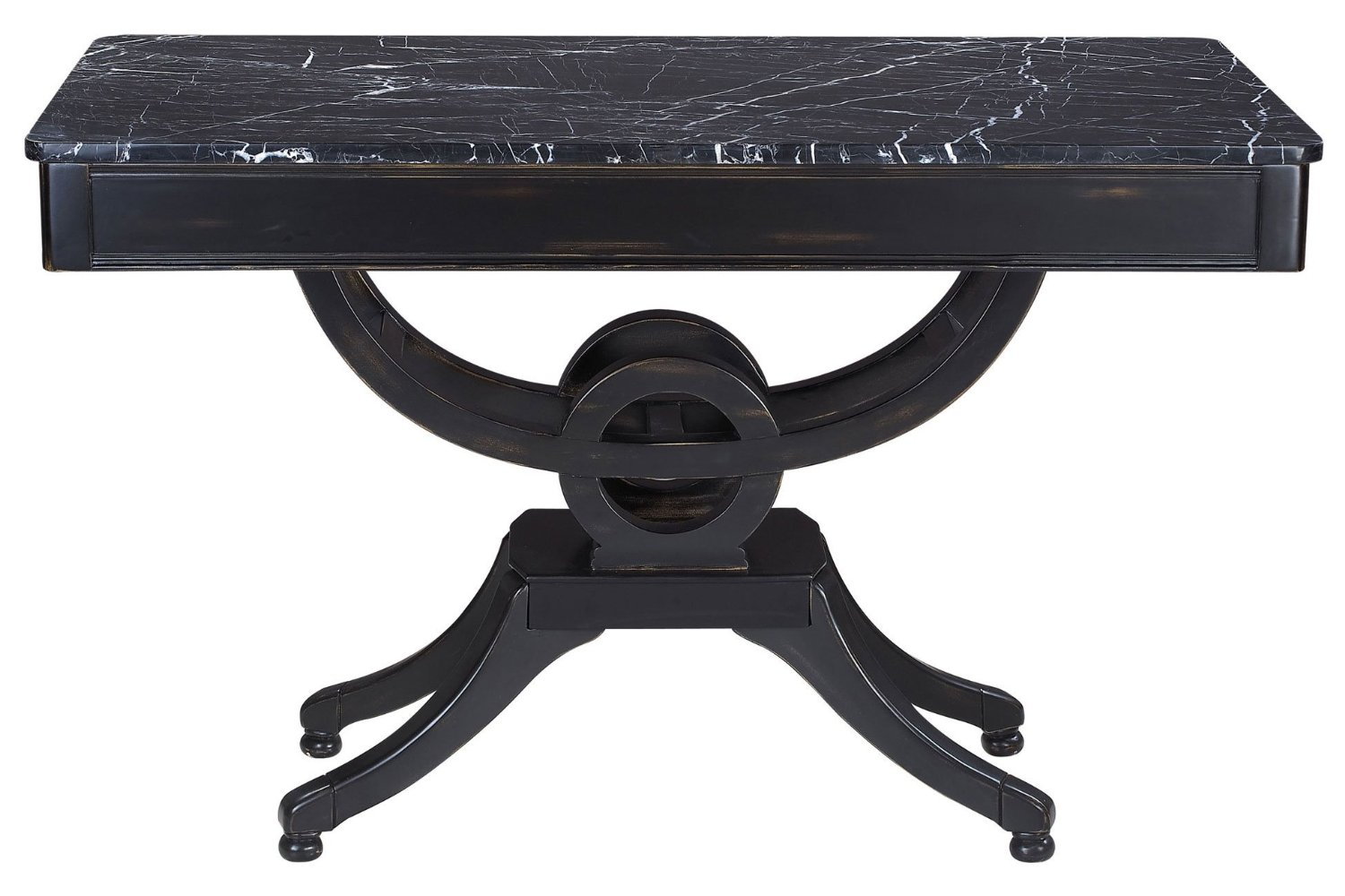 Sterling 6043638 Cinque Traditional Plantation Grown Hardwood Console with Solid Marble Top, 32-Inch, Ebony