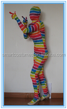wholesale adult and kids lycra spandex rainbow zentai costume