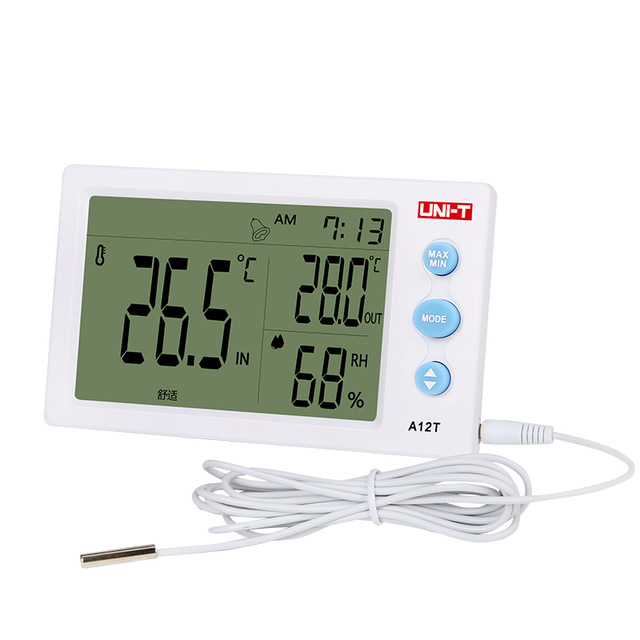 UNI-T A12T Indoor Outdoor Weather Station Digital Temperature Humidity Meter Date Alarm Clock Thermometer Hygrometer Function