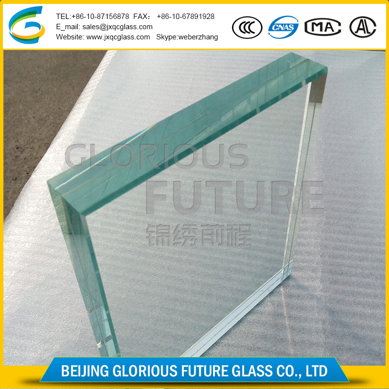 Unbreakable Ultra clear high safety 12+12mm laminated glass disply cases with certification